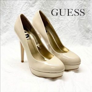 G by GUESS Winna Platform Pump Nude Beige Patent Leather Size 7